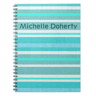 Personalized Turquoise Aqua Stripe Pattern Notebooks