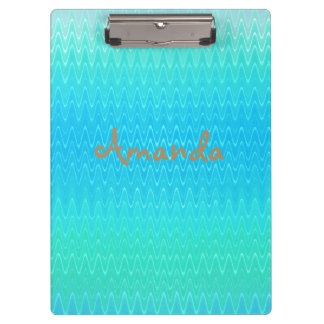 Personalized Turquoise Blue Green Abstract Pattern Clipboards