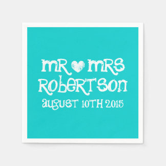 Personalized turquoise blue mr mrs wedding napkins paper napkin