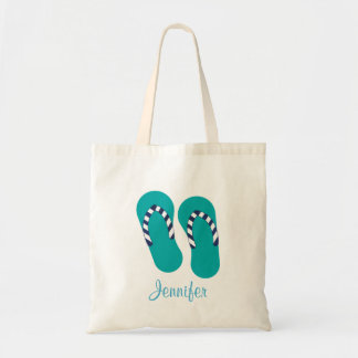 Personalized Turquoise Flip Flop Sandals Tote Bag