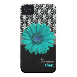 Personalized Turquoise Flower Custom Case iPhone 4 Case-Mate Case