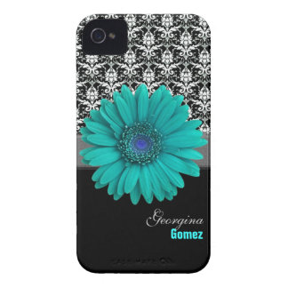 Personalized Turquoise Flower Custom Case iPhone 4 Covers