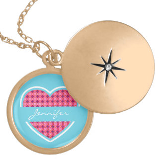 Personalized Turquoise Heart Pattern Necklace Round Locket Necklace