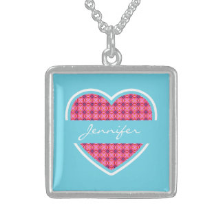 Personalized Turquoise Heart Pattern Necklace