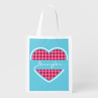 Personalized Turquoise Heart Pattern Reusable Bag