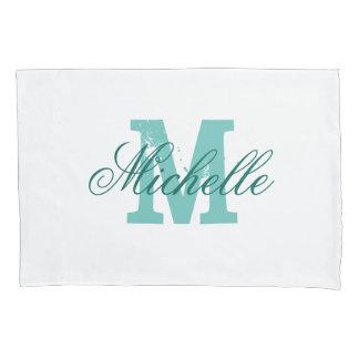 Personalized turquoise name monogram pillowcase