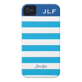 Personalized turquoise & navy striped iPhone 4/4s iPhone 4 Case