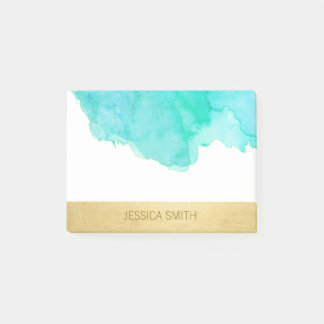 Personalized Turquoise Watercolor Faux Gold Foil Post-it Notes