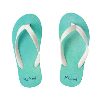 Personalized Turquoise  Watercolor Texture Flip Flops