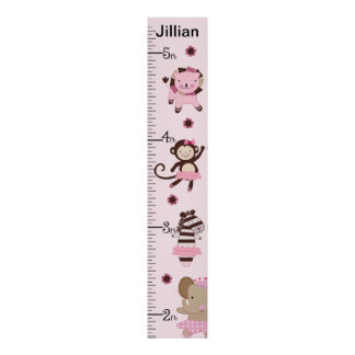 Personalized Tutu Cute Ballet Animals Growth Chart Poster