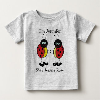 Personalized Twins Ladybug Friends Baby T-Shirt
