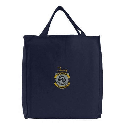 Personalized Two Bulldog Brand Embroidered Tote Canvas Bags