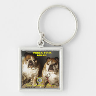Personalized Two Bulldog Brand INITIALS Keychain