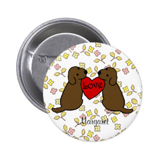 Personalized Two Choco Labradors with Love Cartoon Pins