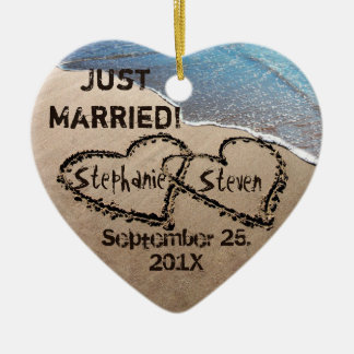 Personalized Two Hearts In The Sand Heart Ornament