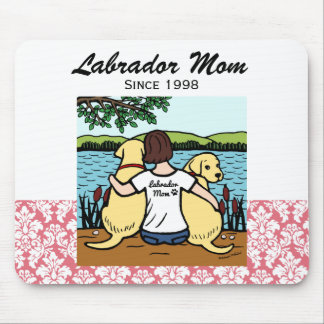 Personalized Two Yellow Labradors and Mom Mousepads