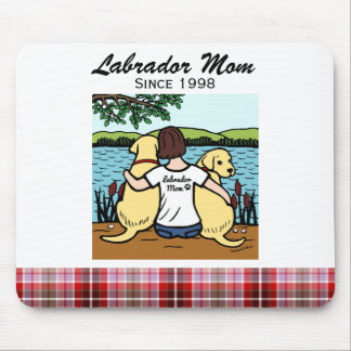 Personalized Two Yellow Labradors and Mom Mouse Pad