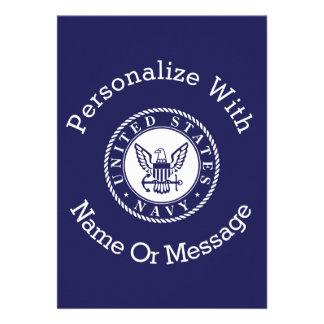 Personalized U.S. Navy Emblem 13 Cm X 18 Cm Invitation Card