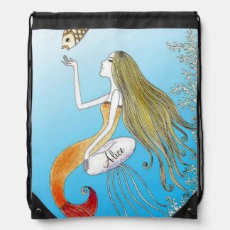 Personalized under the sea beautiful mermaid drawstring bag