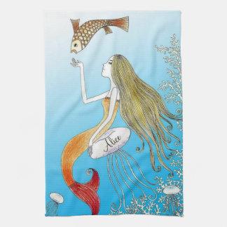 Personalized under the sea beautiful mermaid tea towel