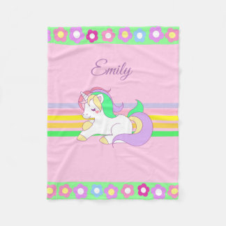 Personalized Unicorn and Rainbow Pink Blanket