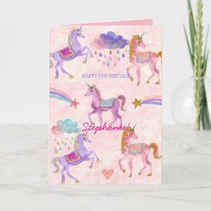 Personalized Unicorn Birthday greeting card