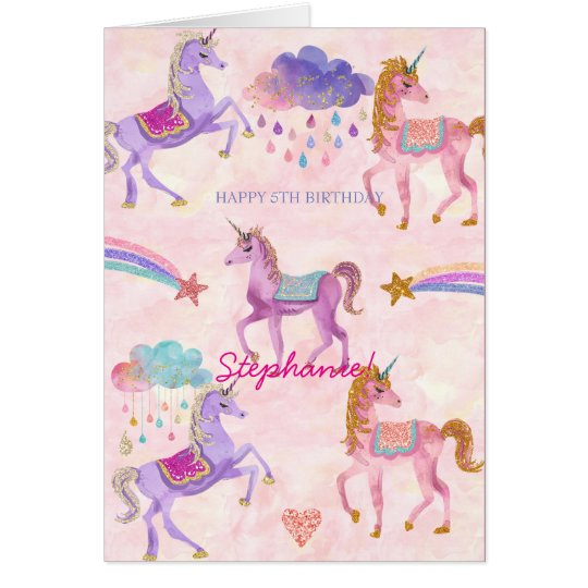 Personalized Unicorn Birthday greeting card