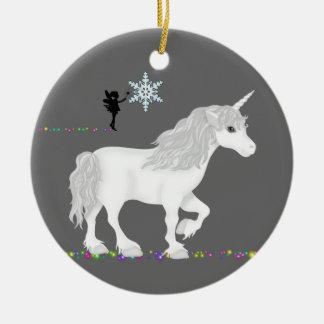 Personalized Unicorn, Fairy and Christmas Tree Round Ceramic Decoration