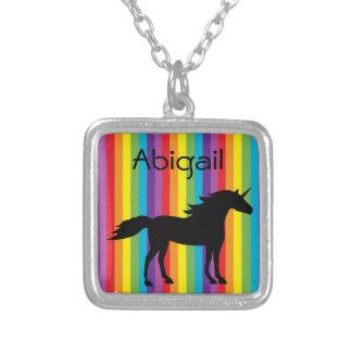 Personalized Unicorn Rainbow Necklace for Girls