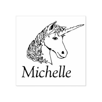 Personalized Unicorn Rubber Stamp