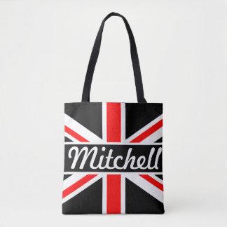 Personalized Union Jack Black Tote Bag
