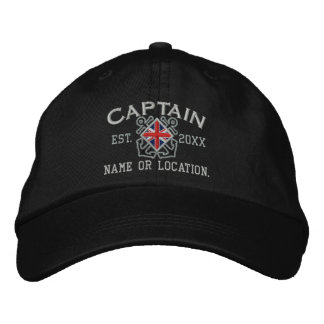Personalized Union Jack Captain Nautical Embroidered Baseball Cap