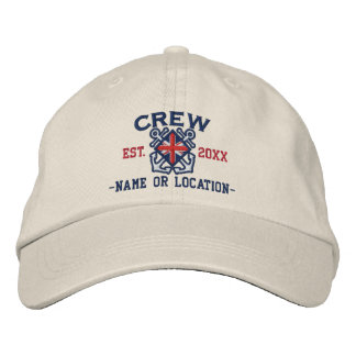 Personalized Union Jack Flag Crew Nautical Embroidered Hat