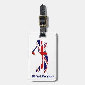 Personalized Union Jack Golfer Luggage Tag