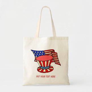 personalized USA flag, patriotic hat text tote bag