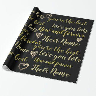 Personalized VALENTINE - Words of Love Black Gold Wrapping Paper
