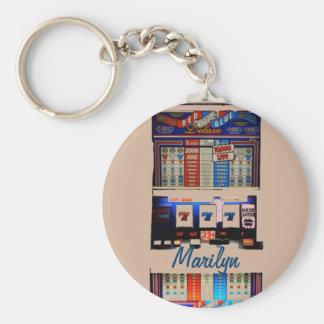 Personalized Vegas Style Slot Machine Basic Round Button Key Ring