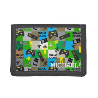 Personalized Video Game Gamer Geek for Boy Tween Trifold Wallet