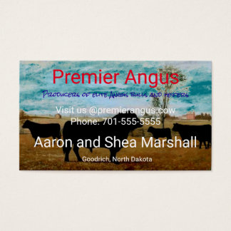 Personalized Vintage Angus Cattle Business Card