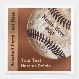 Personalized Vintage Baseball Napkins, Your Text Disposable Napkin