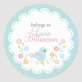 Personalized Vintage Bird and Flowers - DIY Tags Round Sticker
