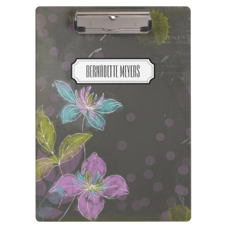 Personalized Vintage Black Floral Clipboard