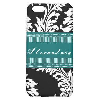 Personalized Vintage Black Teal Damask iPhone Case iPhone 5C Case