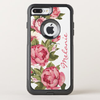 Personalized Vintage blush pink roses Peonies OtterBox Commuter iPhone 8 Plus/7 Plus Case