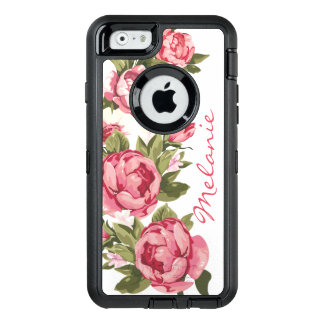 Personalized Vintage blush pink roses Peonies OtterBox Defender iPhone Case