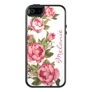 Personalized Vintage blush pink roses Peonies OtterBox iPhone 5/5s/SE Case