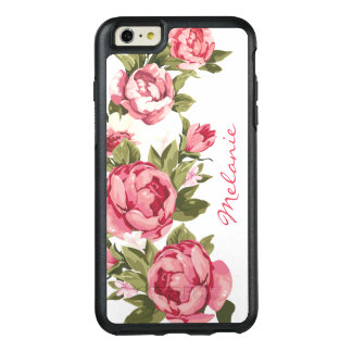 Personalized Vintage blush pink roses Peonies OtterBox iPhone 6/6s Plus Case