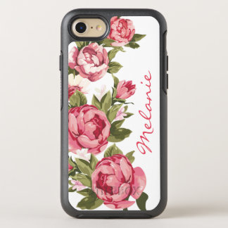 Personalized Vintage blush pink roses Peonies OtterBox Symmetry iPhone 8/7 Case
