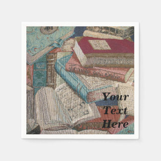 Personalized Vintage Books Background Napkins Disposable Napkin