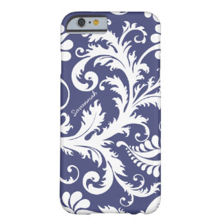 Personalized Vintage Damask change blue any color Barely There iPhone 6 Case
